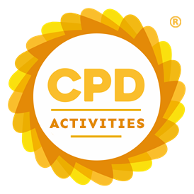Circular CPD Group logo with orange and yellow border. Contains text: CPD ACTIVITIES.