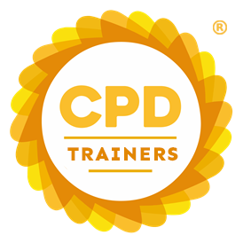 Circular CPD Group logo with orange and yellow border. Contains text: CPD TRAINERS.