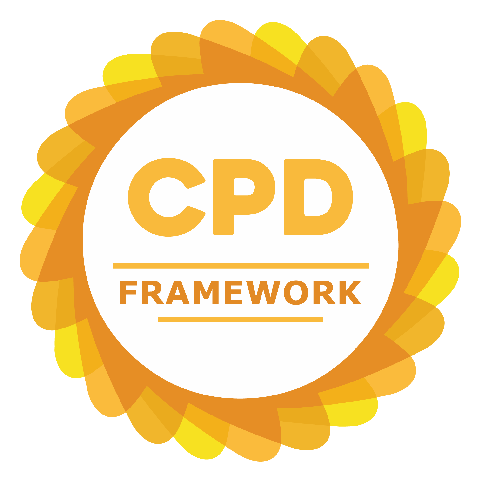 Circular CPD Group logo with orange and yellow border. Contains text: CPD FRAMEWORK.