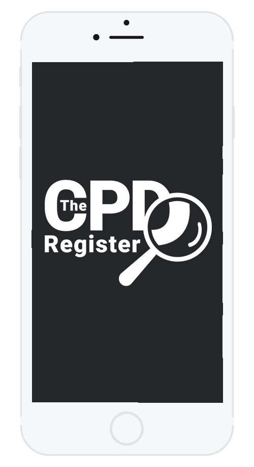 iPhone displaying the white CPD Register logo on a black background.